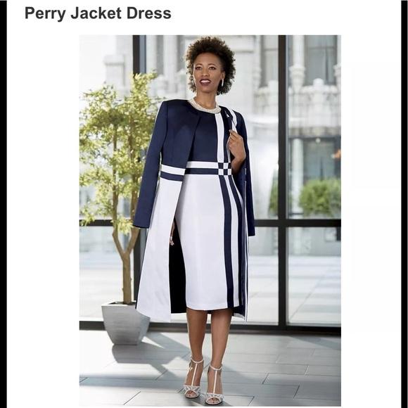 c4716f78f2db Ashro Dresses & Skirts - Ashro Perry Dress & Jacket Suit Set Navy White 26W